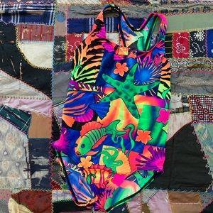 SPEEDO Neon Exotic Fish Bathing Suit